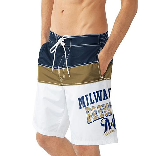 Men's G-III Sports by Carl Banks White/Navy Milwaukee Brewers Home Run Swim Trunks