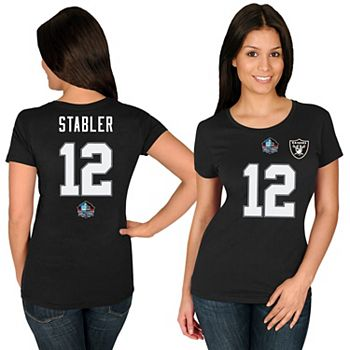 low priced d4ab4 f3cee Women's Majestic Ken Stabler Black Oakland Raiders Hall of Fame Fair Catch  Name & Number T-Shirt
