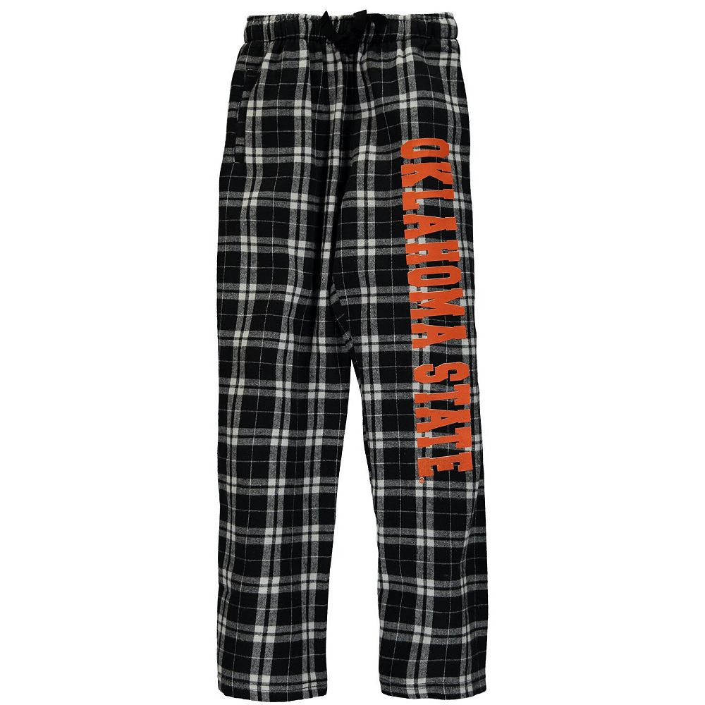 Youth Black Oklahoma State Cowboys Plaid Flannel Pants