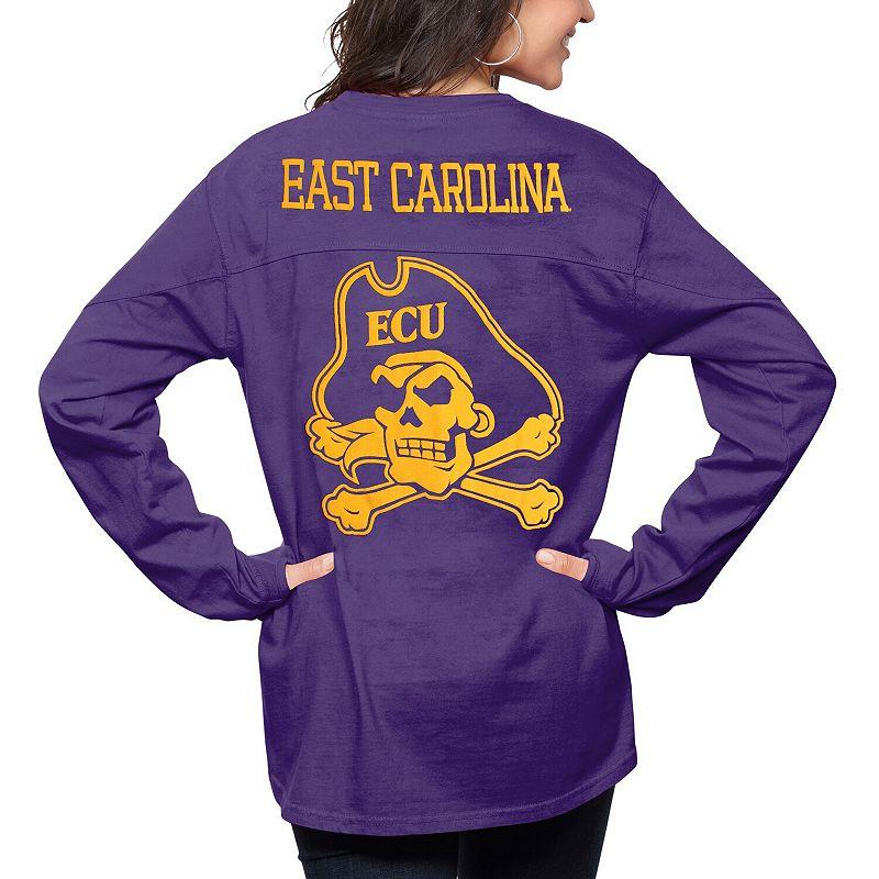 Women's Pressbox Purple East Carolina Pirates The Big Shirt Oversized Long Sleeve T-Shirt. Size: Small