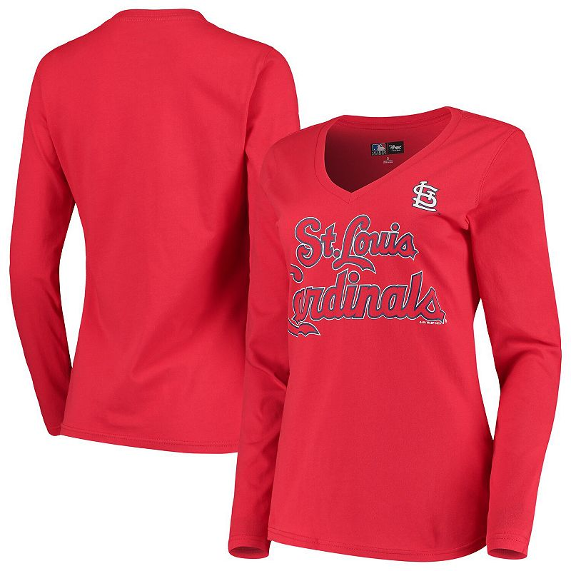 Women's G-III 4Her by Carl Banks Red St. Louis Cardinals Post Season Long Sleeve T-Shirt, Size: XS