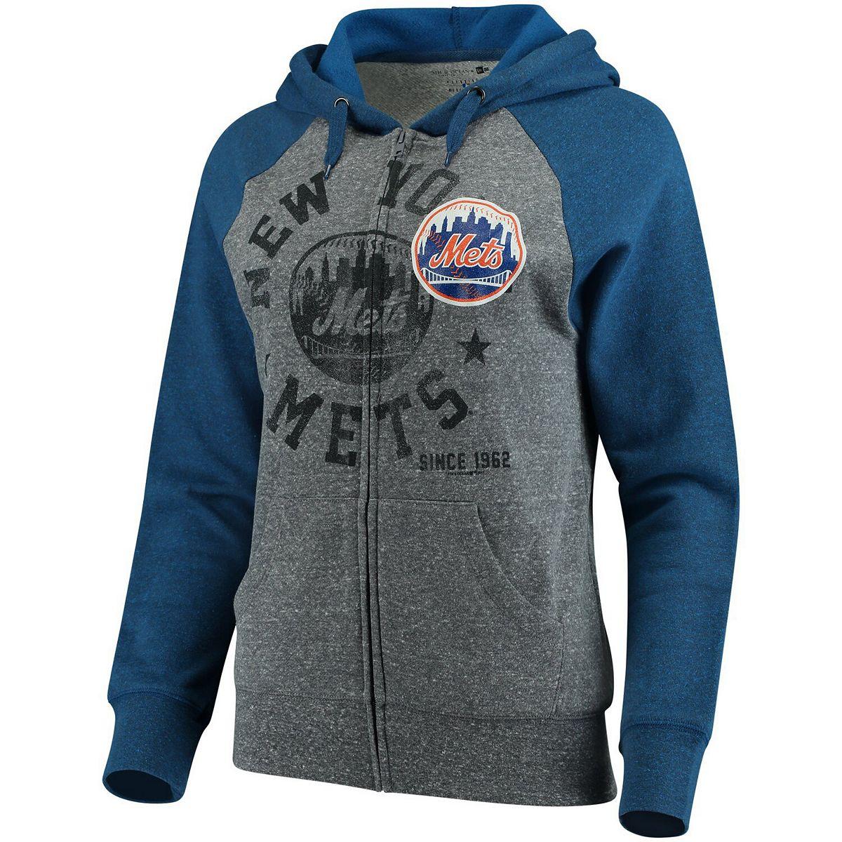 Women's 5th & Ocean by New Era Heathered Gray/Royal New York Mets Tri-Blend Raglan Fleece Full-Zip Hoodie VBmkQ