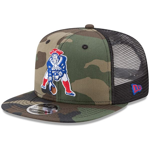 Men S New Era Woodland Camo Black New England Patriots Throwback Logo Trucker 9fifty Snapback Adjustable Hat