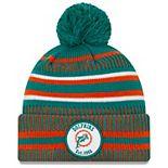 Youth New Era Aqua/Orange Miami Dolphins 2019 NFL Sideline Home Historic Logo Sport Knit Hat