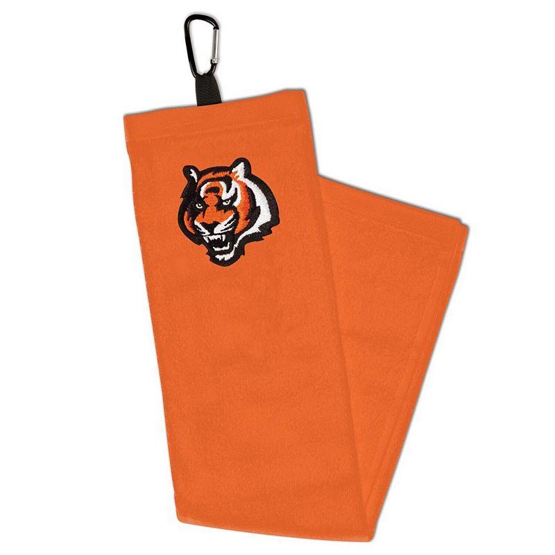 WinCraft Cincinnati Bengals Embroidered Golf Towel with Carabiner. Multicolor