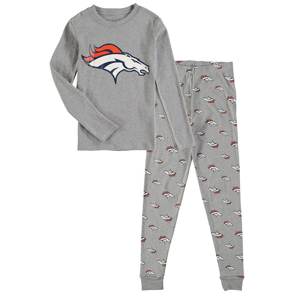 Preschool Heathered Gray Denver Broncos Long Sleeve T-Shirt & Pants Sleep Set
