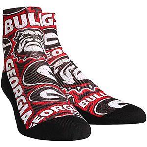 Men's Georgia Bulldogs Logo Sketch Quarter-Length Socks