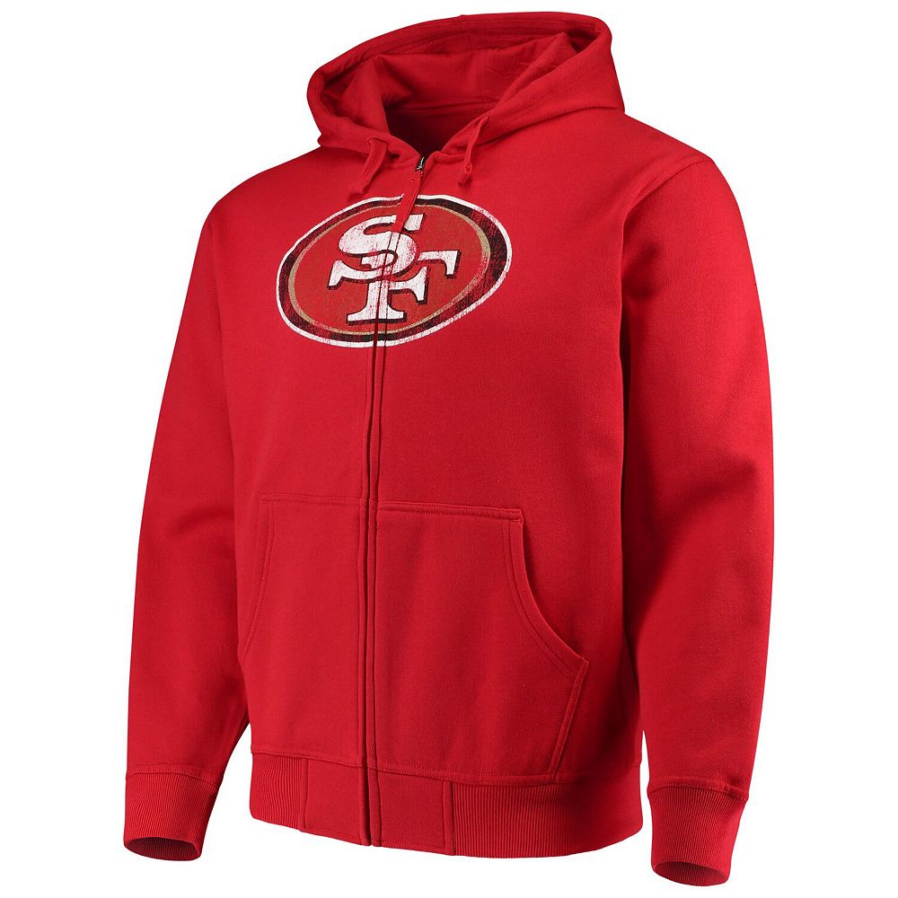 Men's G-III Sports by Carl Banks Scarlet San Francisco 49ers Primary Logo Full-Zip Hoodie