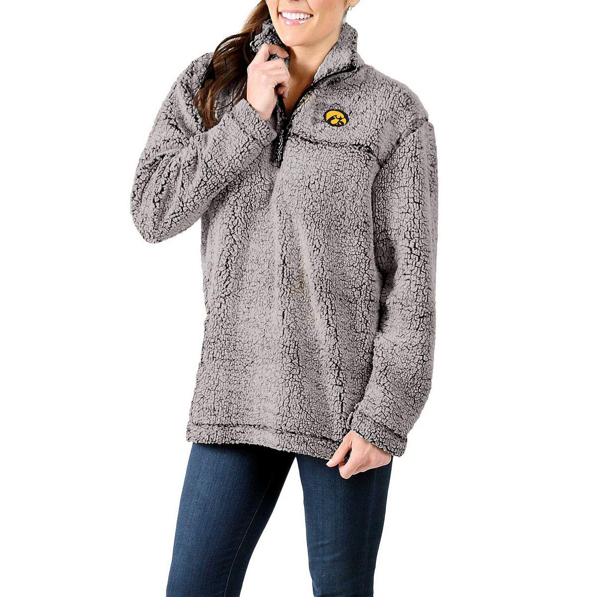 Women's Gray Iowa Hawkeyes Sherpa Super Soft Quarter-Zip Pullover Jacket qYZXS
