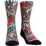 Youth Green Miami Hurricanes Logo Sketch Crew Socks