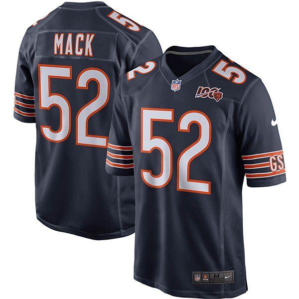 Men's Nike Khalil Mack Navy Chicago Bears 100th Season Game Jersey