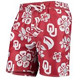Men's Wes & Willy Crimson Oklahoma Sooners Floral Volley Swim Trunks