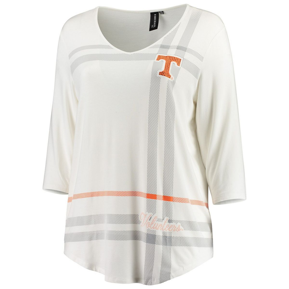 Women's White Tennessee Volunteers Plus Size Missy Plaid 3/4-Sleeve V-Neck T-Shirt TWs1l