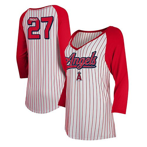 Mike Trout Women's 5th & Ocean by New Era White/Red Los Angeles Angels Player Pinstripe Raglan 3/4-Sleeve T-Shirt