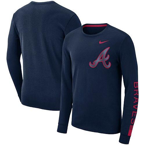 Men's Nike Navy Atlanta Braves Heavyweight Long Sleeve T-Shirt