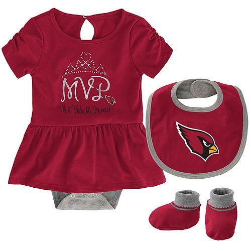 Girls Newborn Cardinal Arizona Cardinals MVP Bodysuit, Bib & Booties Set