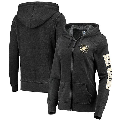 Women's Heathered Charcoal Army Black Knights Rally Enzyme Washed Full-Zip Hoodie