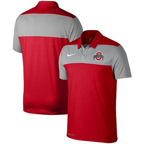 Men's Nike Scarlet Ohio State Buckeyes School Logo Color Block Performance Polo