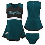 Girls Toddler Midnight Green/Black Philadelphia Eagles Cheer Captain Jumper Dress