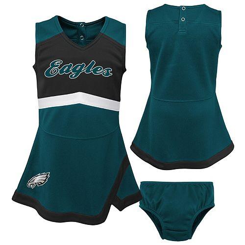 Girls Toddler Midnight Green/Black Philadelphia Eagles Cheer Captain Jumper Dress