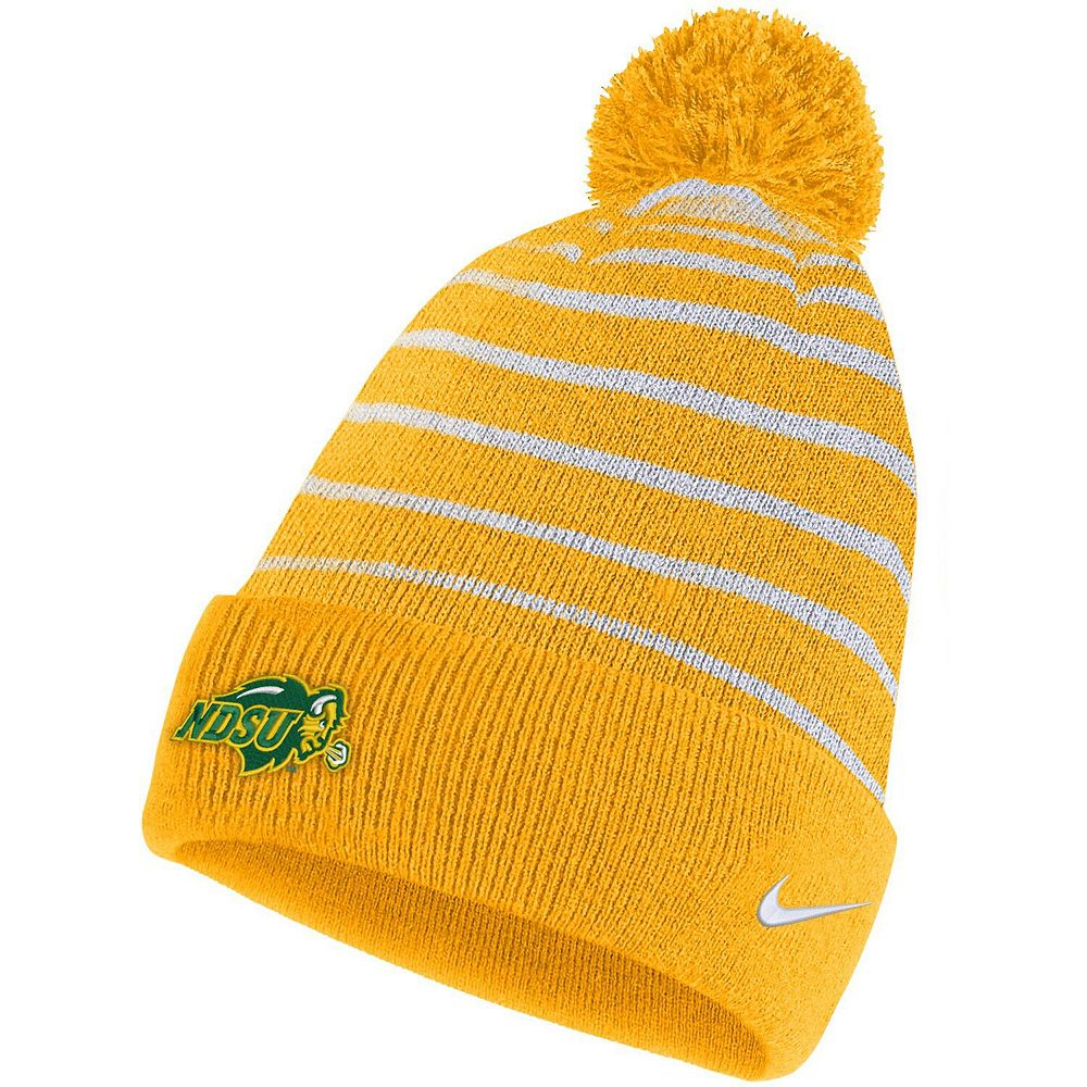 Men's Nike Yellow NDSU Bison Team Logo Sideline Cuffed Knit Hat with Pom
