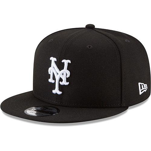 Men's New Era Black New York Mets Black & White 9FIFTY Snapback Hat