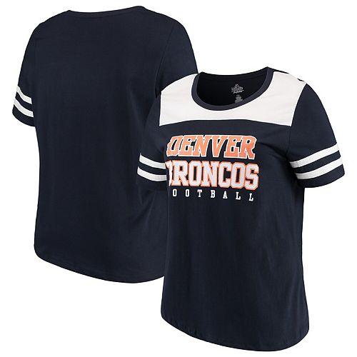 Women's Majestic Navy/White Denver Broncos Plus Size Contrast Dual Stripe T-Shirt