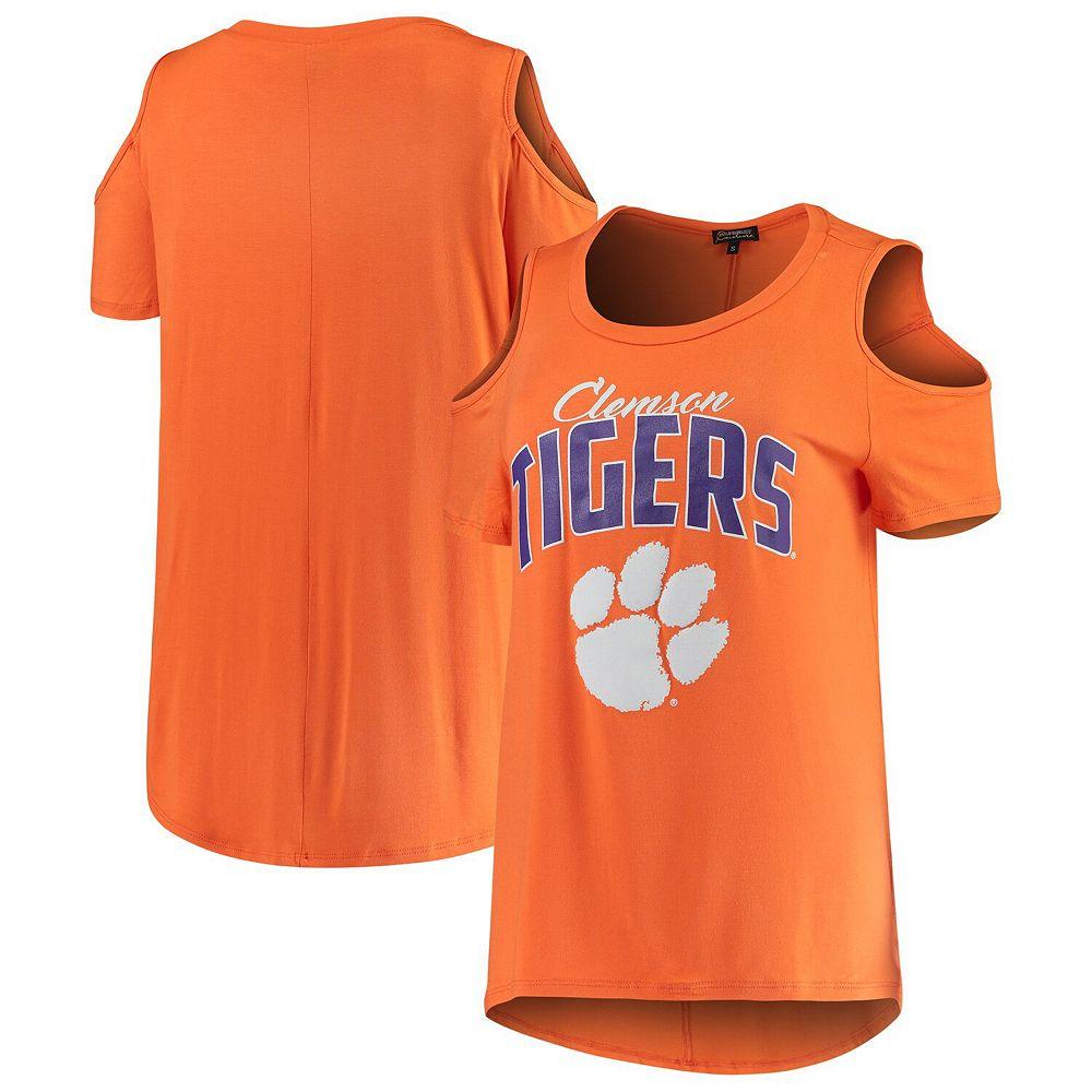 Women's Orange Clemson Tigers Cold Shoulder Flowy Top