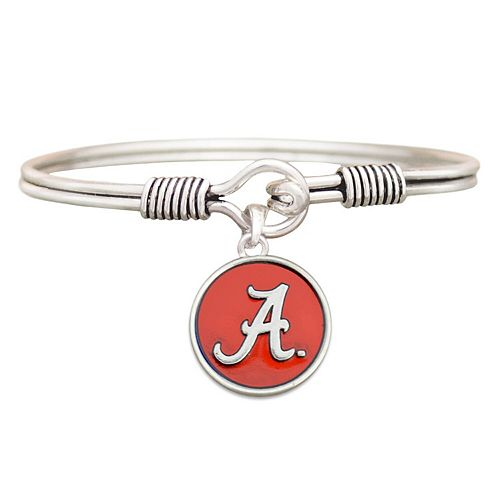 Women's Silver Alabama Crimson Tide Iridescent Logo Bangle Bracelet