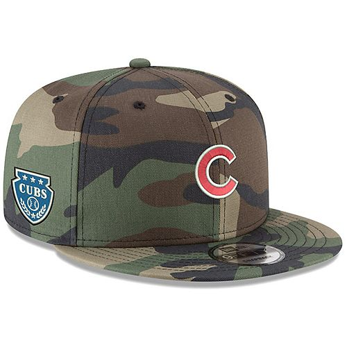 Men's New Era Camo Chicago Cubs Military Patch 9FIFTY Snapback Hat