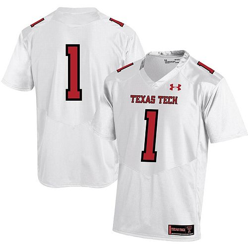 Men's Under Armour #1 White Texas Tech Red Raiders Premier Football Jersey