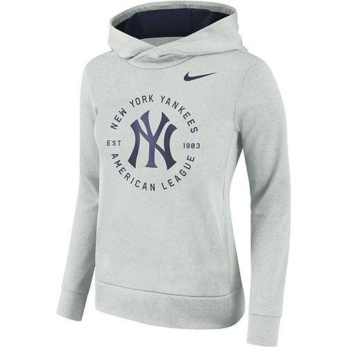 Women's Nike Gray New York Yankees Therma Pullover Hoodie