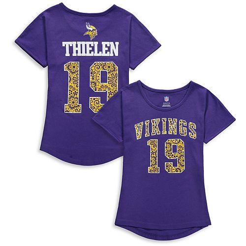 Girls Youth Adam Thielen Purple Minnesota Vikings Dolman Lace Player Name & Number T-Shirt
