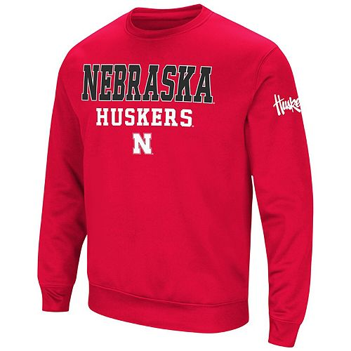 Men's Colosseum Scarlet Nebraska Cornhuskers Stacked Performance Pullover Sweatshirt
