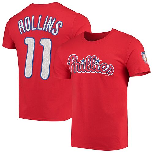 Men's Majestic Jimmy Rollins Red Philadelphia Phillies Retirement Name & Number T-Shirt