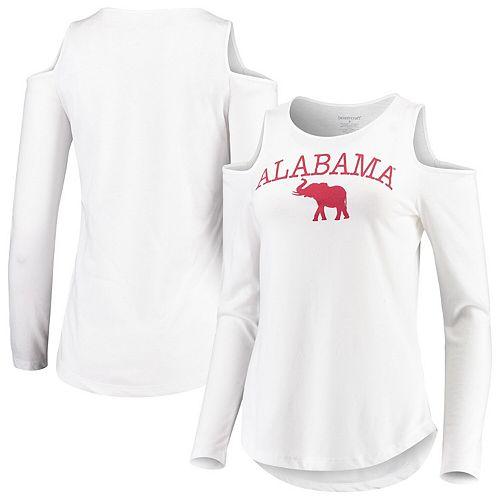 Women's White Alabama Crimson Tide Cold Shoulder Long Sleeve T-Shirt