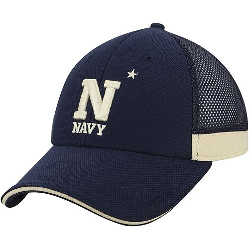 Men's Under Armour Navy Navy Midshipmen Team Logo Sideline Blitzing Accent Flex Hat