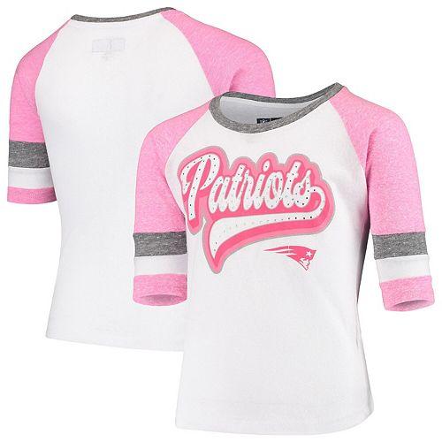 online store 3376a b0f3b Youth New Era White New England Patriots Rhinestone Tri-Blend 3/4-Sleeve  Raglan T-Shirt