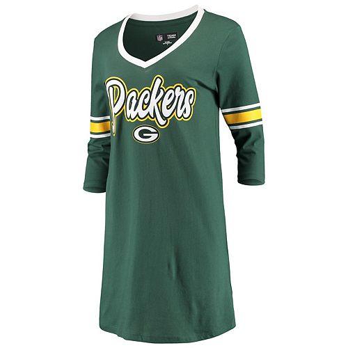 Women's New Era Green Green Bay Packers Athletic V-Neck Dress