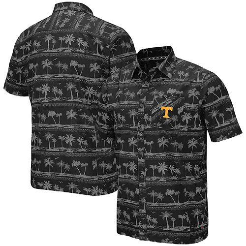 Men's Colosseum Black Tennessee Volunteers Big & Tall Hilo Camp Button-Up Shirt