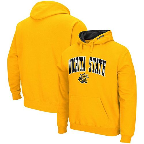 Men's Colosseum Gold Wichita State Shockers Arch & Logo Tackle Twill Pullover Hoodie