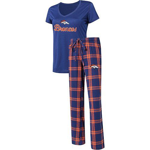 Women's Concepts Sport Navy/Orange Denver Broncos Troupe V-Neck T-Shirt & Pants Sleep Set