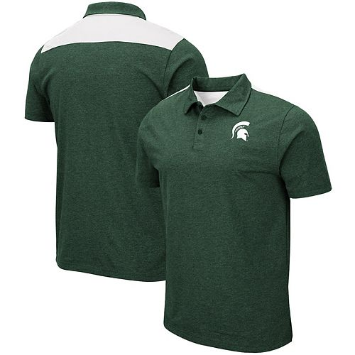 Men's Colosseum Heathered Green Michigan State Spartans I Will Not Polo