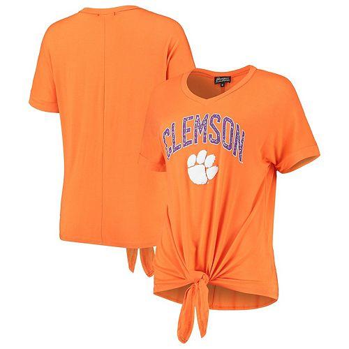 Women's Orange Clemson Tigers On A Break V-Neck Knot T-Shirt