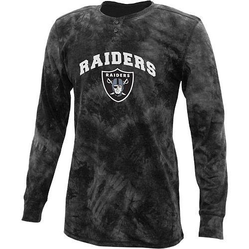 Men's Concepts Sport Charcoal Oakland Raiders Altar Tie-Dye Henley Long Sleeve T-Shirt