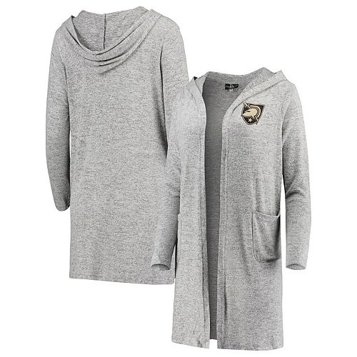 Women's Heathered Gray Army Black Knights Cuddle Soft Duster Tri-Blend Hooded Cardigan