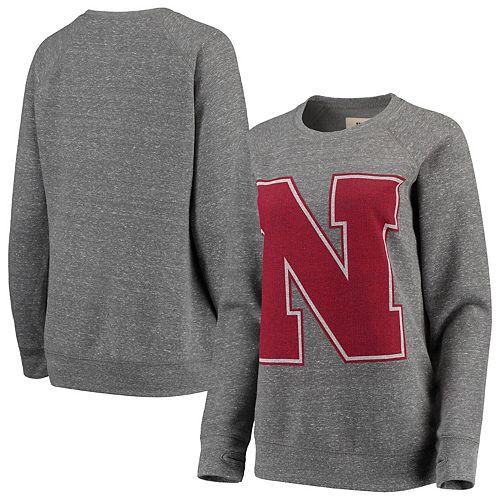Women's Pressbox Heathered Gray Nebraska Cornhuskers Big Team Logo Knobi Fleece Tri-Blend Crew Neck Sweatshirt