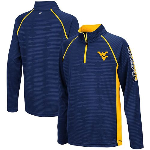 Youth Colosseum Navy West Virginia Mountaineers Mime Raglan Quarter-Zip Pullover Sweatshirt