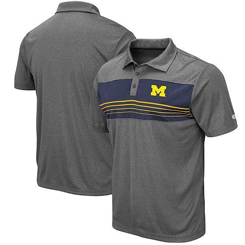 Men's Colosseum Heathered Charcoal Michigan Wolverines Smithers Polo