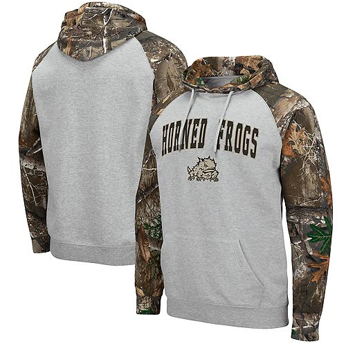 Men's Colosseum Heathered Gray/Realtree Camo TCU Horned Frogs Arch & Logo 2.0 Raglan Pullover Hoodie